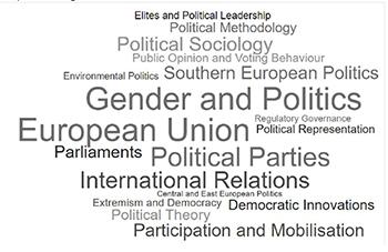 Nube de palabras según volumen de miembros, ECPR standing groups