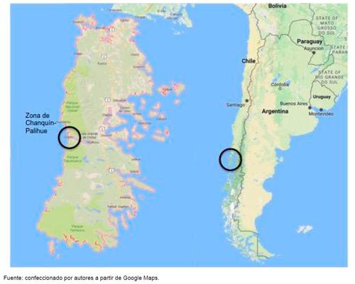 Ubicación de Chiloé y zona de Chanquín-Palihue